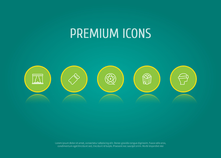 viewer: Set Of 5 Entertainment Outline Icons Set.Collection Of Theater, Popcorn, Ticket And Other Elements. Illustration