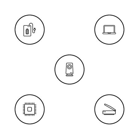 Set Of 5 Laptop Outline Icons Set.Collection Of Cpu, Scanner, Powerbank And Other Elements.