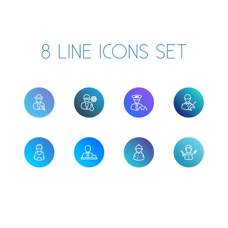 Set Of 8 Position Outline Icons Set. Collection Of Worker, Reporter, Taxi And Other Elements.