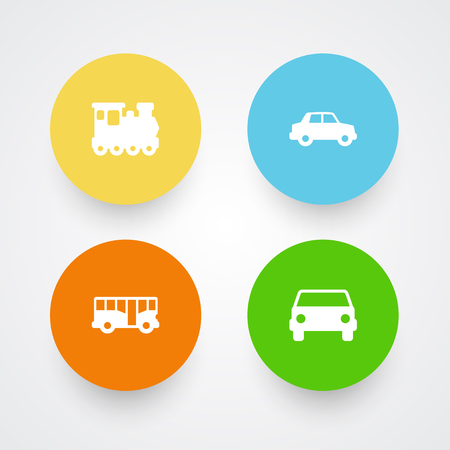 Set Of 4 Transport Icons Set.Collection Of Wagon, Side View, Car And Other Elements.