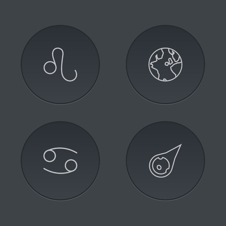 Set Of 4 Horoscope Outline Icons Set.Collection Of Asteroid, Leo, Cancer And Other Elements.