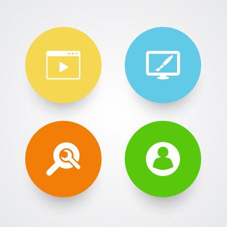Set Of 4 Optimization Icons Set.Collection Of Search, Design, Movie And Other Elements.