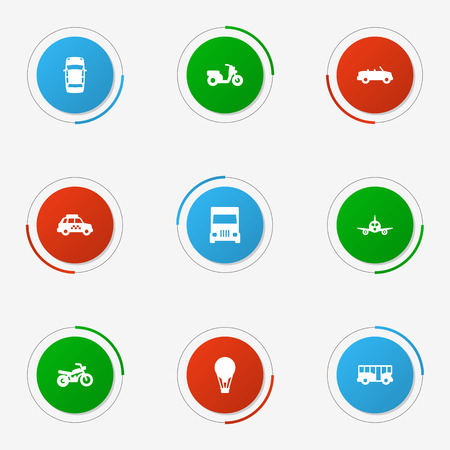 Set Of 9 Transport Icons Set.Collection Of Autobus, Truck, Taxicab And Other Elements. Illustration