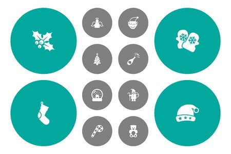 Set Of 12 New Icons Set.Collection Of Cap, Bear, Ilex And Other Elements.