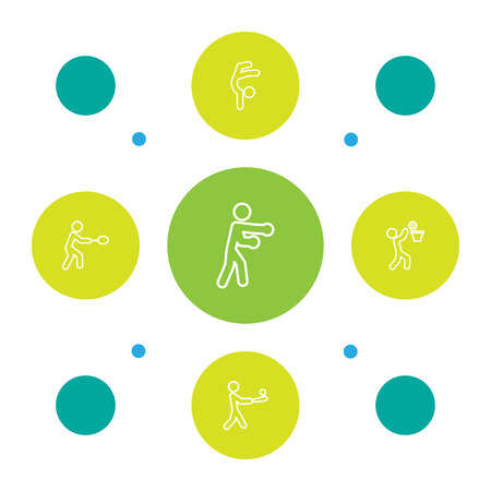 Set Of 5 Athletic Outline Icons Set.Collection Of Box, Basket, Gymnastic And Other Elements.