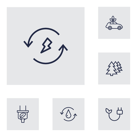 Collection of water, plug, ecol and other elements.  Set of 6 bio outline icons set.