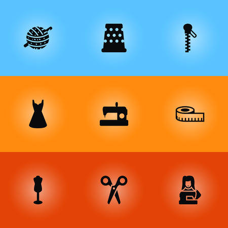 Set Of 9 Stitch Icons Set.Collection Of Knitting, Fastener, Cutter And Other Elements.