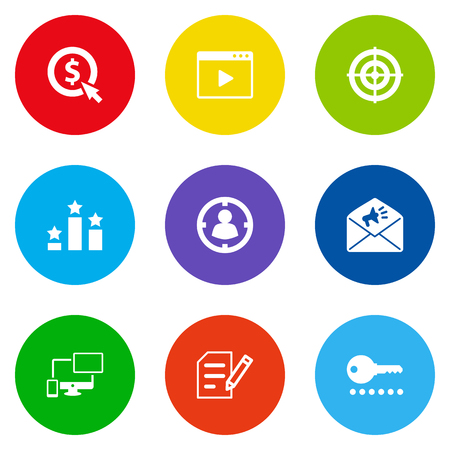 Collection of targeting, responsive, movie and other elements.  Set of 9 search icons set. Ilustração