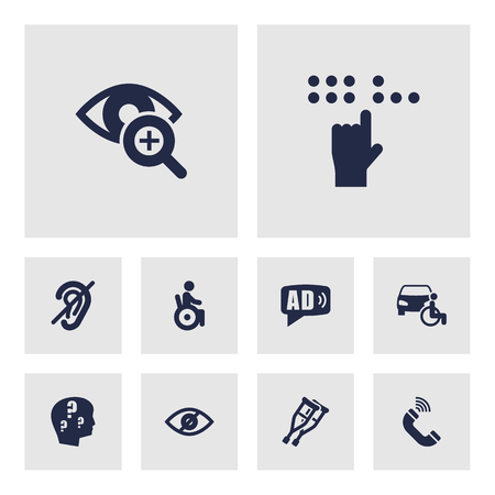 Set Of 10 Accessibility Icons Set.Collection Of Ad, Hard Of Hearing, Braille And Other Elements.