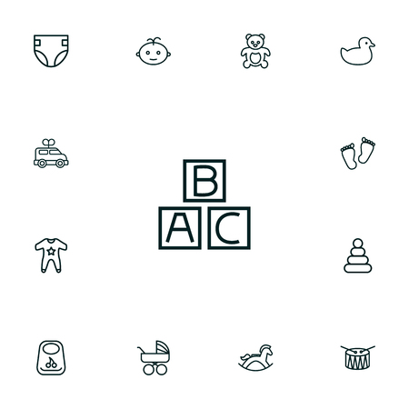 Set Of 13 Child Outline Icons Set.Collection Of Boy, Bib, Smock And Other Elements.