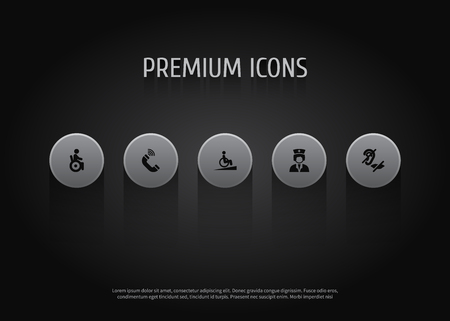 Set Of 5 Disabled Icons Set.Collection Of Mute, Ramp, Assistance And Other Elements.