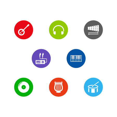 Set Of 8 Music Icons Set.Collection Of Banjo, Audio Device, Tambourine And Other Elements.