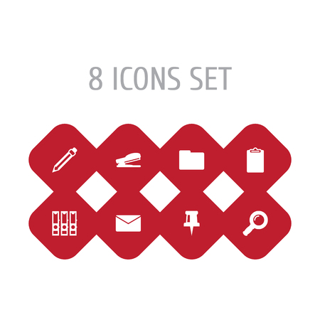 Set Of 8 Tools Icons Set.Collection Of Puncher, Zoom Glasses, Information And Other Elements. Illustration