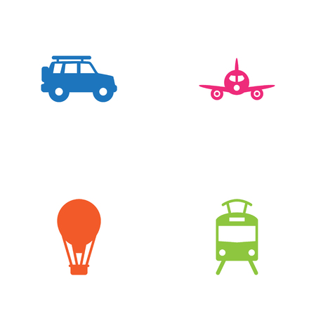 Set Of 4 Shipping Icons Set.Collection Of Streetcar, Hatchback, Aircraft And Other Elements.
