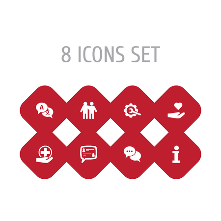 Set Of 8 Support Icons Set.Collection Of Translate, Gear, Support And Other Elements.