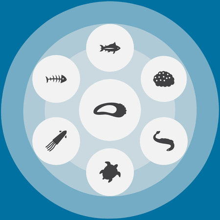 Set Of 7 Sea Icons Set.Collection Of Roe, Clam, Calamary And Other Elements. Illustration