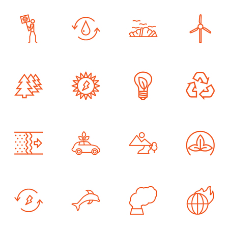 Set Of 16 Ecology Outline Icons Set.Collection Of Charge, Wind Turbine, Water And Other Elements. Ilustrace