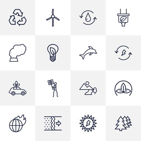 Set Of 16 Bio Outline Icons Set.Collection Of Pollution, Landscape, Solar Elements.