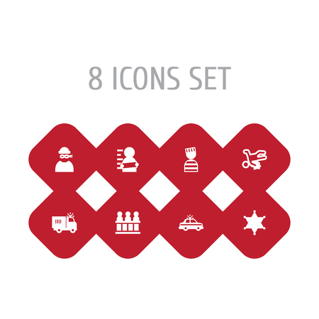 Set Of 8 Criminal Icons Set.Collection Of Thief, Truck, Officer Emblem And Other Elements. Illustration