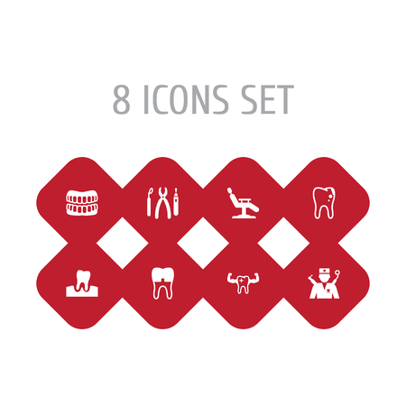 Set Of 8 Dental Icons Set.Collection Of Gingivitis, Dental Crown, Orthodontist And Other Elements. Illustration