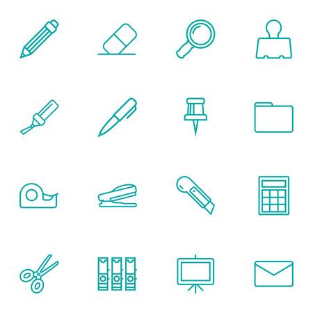 Ensemble de 16 instruments Outline Icons Set.Collection de Puncher, dossier de fichiers, courrier et autres éléments. Banque d'images - 88460858