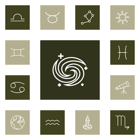 Set Of 13 Astrology Outline Icons Set.Collection Of Libra, Astrologer, Taurus And Other Elements. Illustration