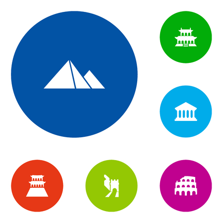 Set Of 6 Landmarks Icons Set.Collection Of Great Pyramid, Beijing, Coliseum And Other Elements.