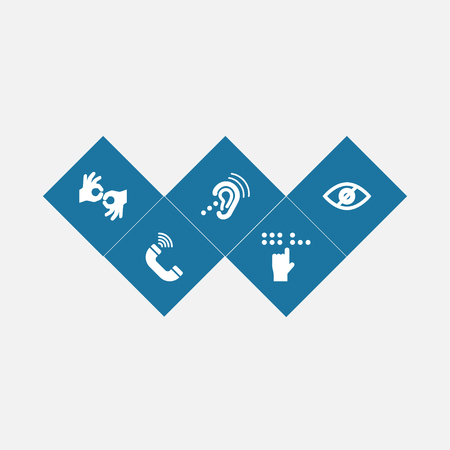 Conjunto de 5 iconos desactivados conjunto. Recolección de gesto, Braille, dispositivo de escucha y otros elementos. Ilustración de vector