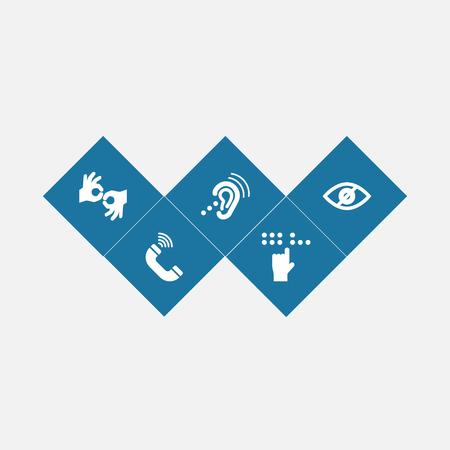 Zestaw 5 ikon niepełnosprawnych zestaw. Kolekcja gest, brajl, słuchanie urządzenia i inne elementy. Ilustracje wektorowe
