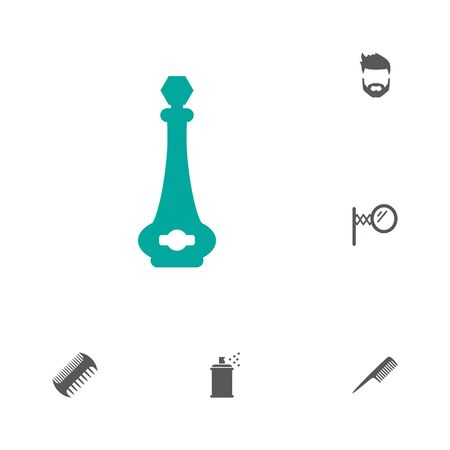 Collection Of Looking-Glass, Beard, Hairbrush And Other Elements.  Set Of 6 Shop Icons Set.