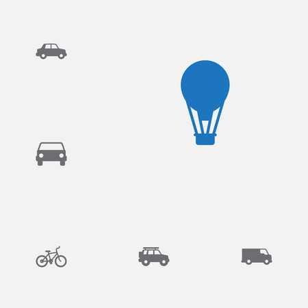 Collection Of Bicycle, Car, Caravan And Other Elements.  Set Of 6 Transport Icons Set. Illustration