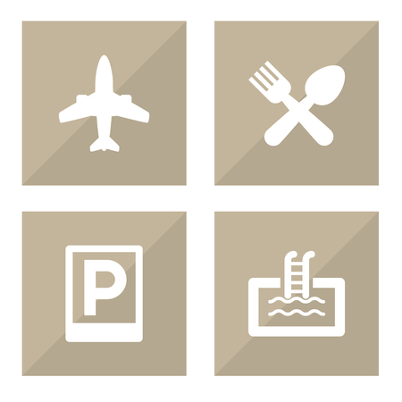 Collection Of Airplane, Road Sign, Basin And Other Elements.  Set Of 4 Motel Icons Set.