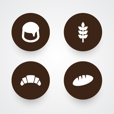 Set Of 4 Bakery Icons Set.Collection Of Custard, Grain, Dessert And Other Elements. Çizim