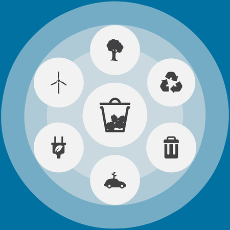 Set of environmental concept icons.