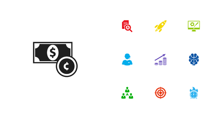 Collection Of Document Checking, Rocket, Intelligence And Other Elements.  Set Of 10 Business Icons Set.