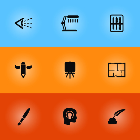 Collection Of Idea, Scheme, Pencil And Other Elements.  Set Of 9 Constructive Icons Set.