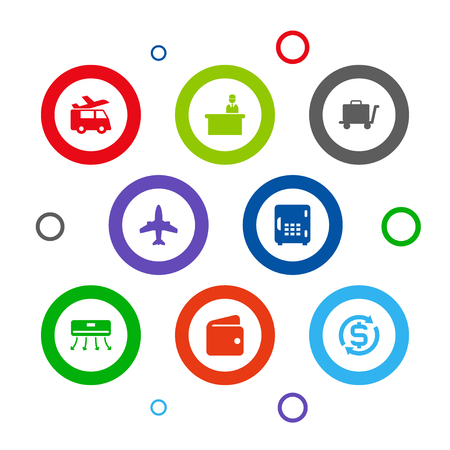 Collection Of Check In, Currency, Carriage And Other Elements.  Set Of 8 Motel Icons Set.