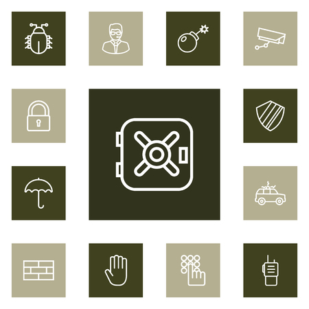 Collection Of Lock, Hand , Parasol Elements.  Set Of 13 Procuring Outline Icons Set.
