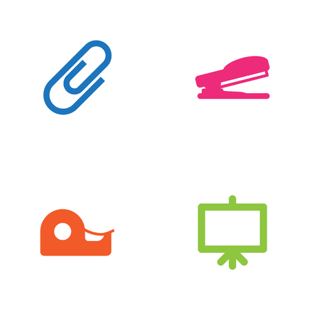 stapled: Collection Of Whiteboard, Puncher, Clip And Other Elements.  Set Of 4 Stationery Icons Set. Illustration