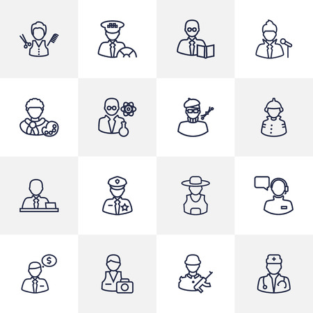 Collection Of Barber, Farmer, Taxi And Other Elements.  Set Of 16 Position Outline Icons Set.