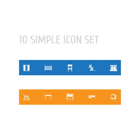 Set Of 10 Decor Icons Set.Collection Of Television, Cupboard, Desk And Other Elements. Illustration