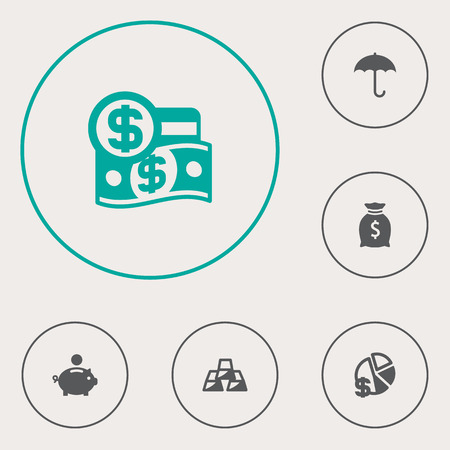Set Of 6 Finance Icons Set.Collection Of Dollar, Finance, Sack And Other Elements.