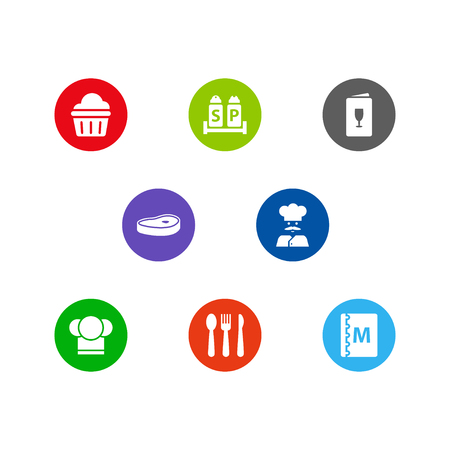 Collection of condiments, chef, alcohol and other elements.  Set of 8 restaurant icons set.