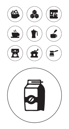 Collection of sweetener, iced mocha, saucer and other elements. Set of 10 coffee icons set.