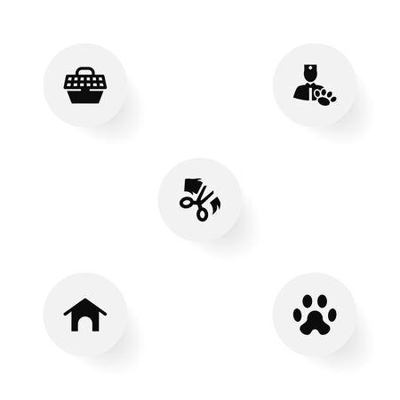 컬렉션의 집, 애완 동물 상자,가 위 및 다른 요소. 5 포유류 아이콘 세트의 집합입니다.