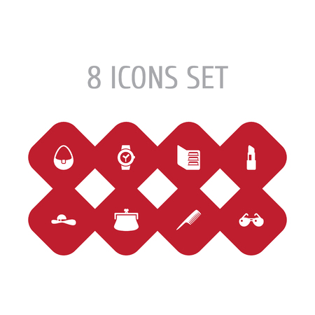 Collection Of Hairbrush, Woman Hat, Spectacles And Other Elements.  Set Of 8 Ornamentation Icons Set.