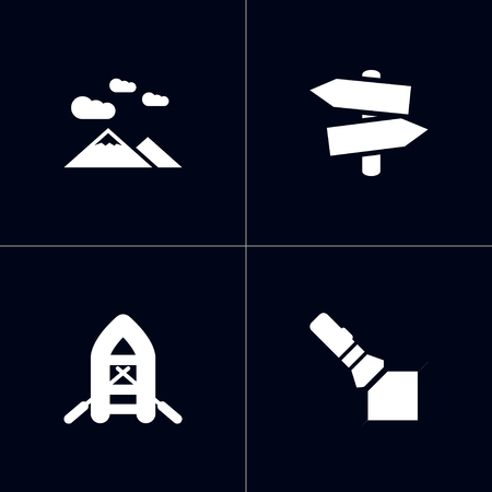 Collection Of Landscape , Flashlight, Inflatable Raft Elements.  Set Of 4 Camping Icons Set. Illustration