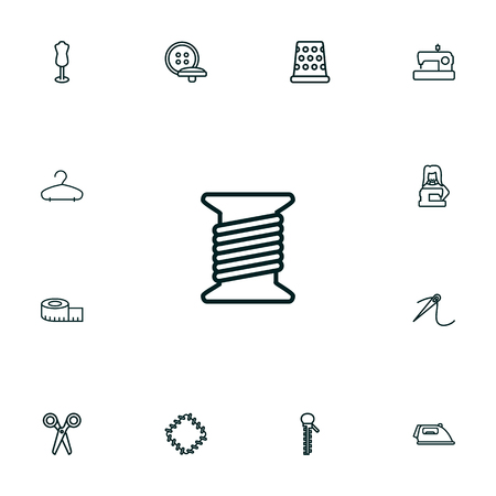 Set Of 13 Stitch Outline Icons Set.Collection Of Buttons, Tremble, Needle And Other Elements. Illustration