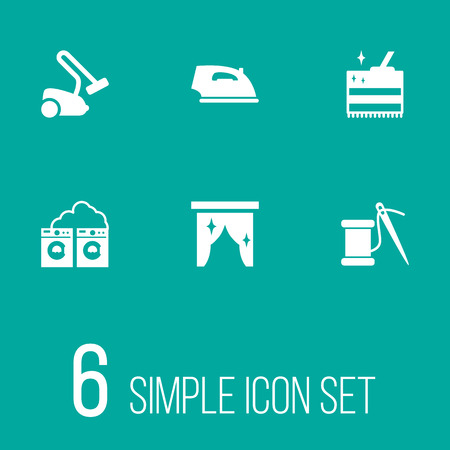 Set Of 6 Cleanup Icons Set.Collection Of Sewing, Hoover, Curtain And Other Elements.