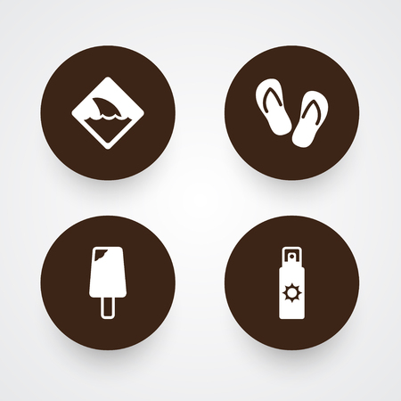Collection Of Sundae, Sunscreen, Warning And Other Elements.  Set Of 4 Beach Icons Set.